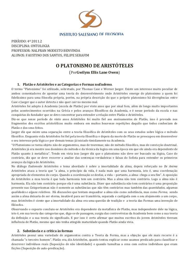 PERÍODO: 4º 2011.2DISCIPLINA: ONTOLOGIAPROFESSOR: NALFRAN MODESTO BENVINDAALUNOS: FAUSTINO DOS SANTOS, FELIPE SERAFIM     ...