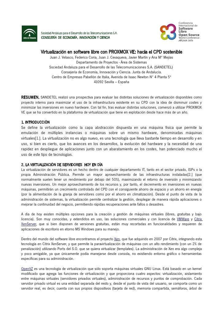 Virtualización en software libre con PROXMOX VE: hacia el CPD sostenible                  Juan J. Velasco, Federico Coria,...