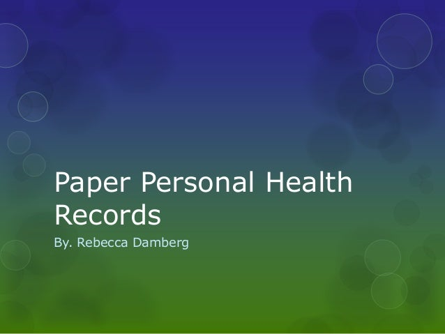Paper personal health records1