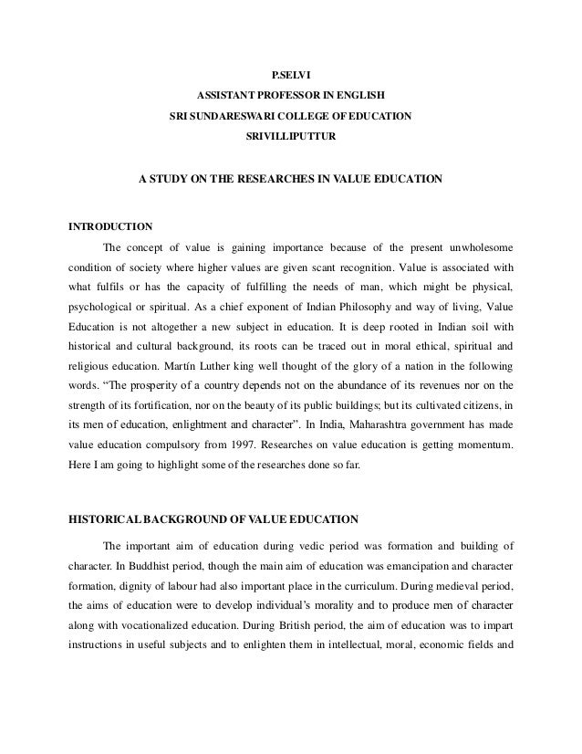 research papers on value education in india