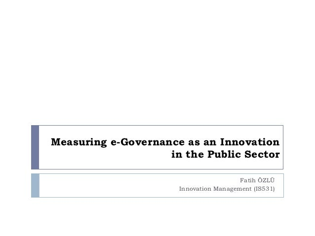 Measuring e-Governance as an Innovation in the Public Sector