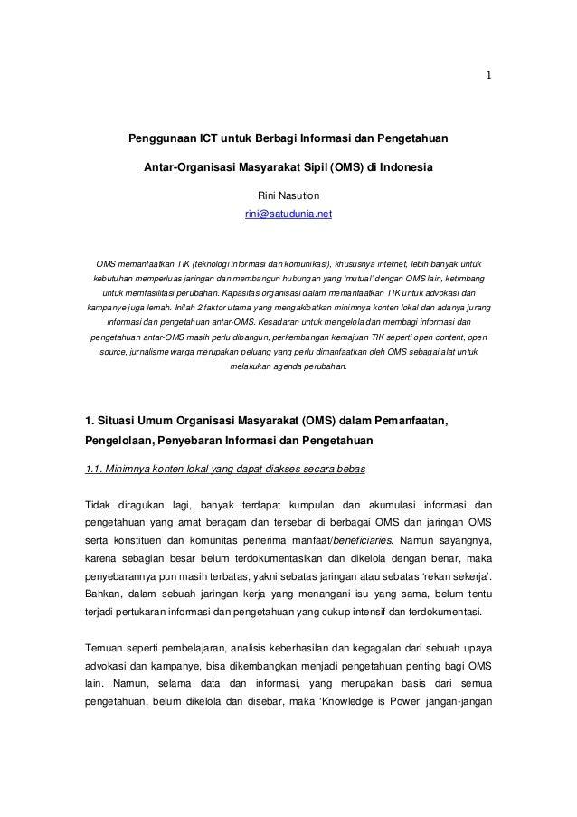 Penggunaan ICT untuk Berbagi Informasi dan Pengetahuan Antar-Organisasi Masyarakat Sipil (OMS) di Indonesia