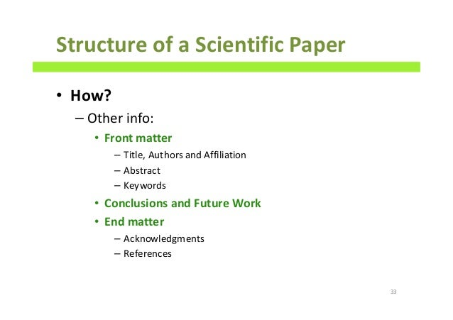 The Structure of Scientific Report - Unilearning Website