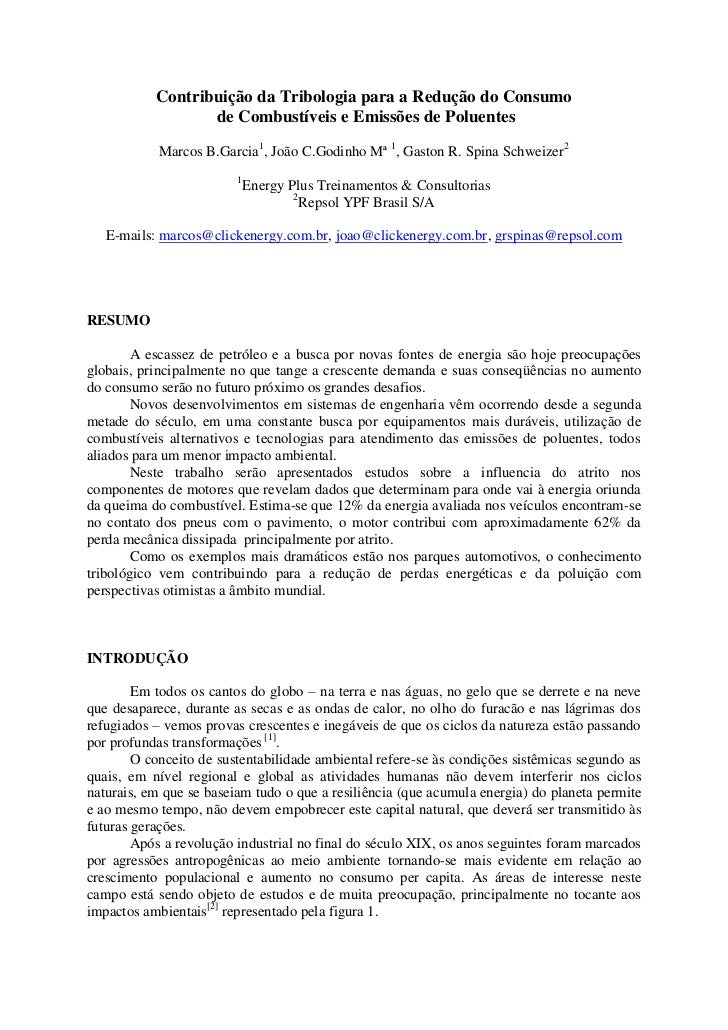 Contribuição da Tribologia para a Redução do Consumo                  de Combustíveis e Emissões de Poluentes            M...