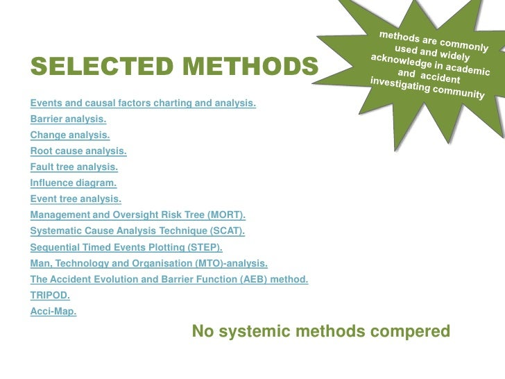 scat systematic cause analysis technique Systematic methods to address root and contributing fully integrate those techniques (and more) into a systematic methodology for cause analysis tools cause.