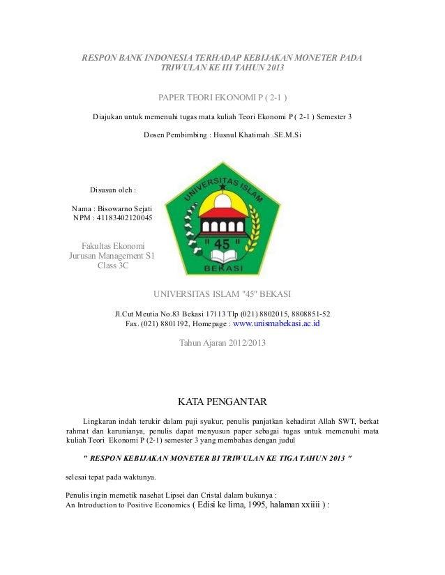 respon bank indonesia terhadap kebijakan moneter triwulan ke tiga tahun 2013