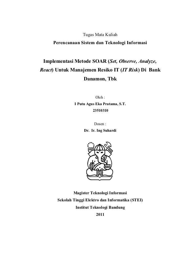 Tugas Mata Kuliah     Perencanaan Sistem dan Teknologi Informasi Implementasi Metode SOAR (Set, Observe, Analyze,React) Un...