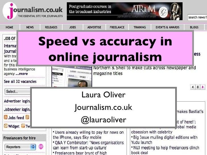 Speed vs Accuracy in Online Journalism