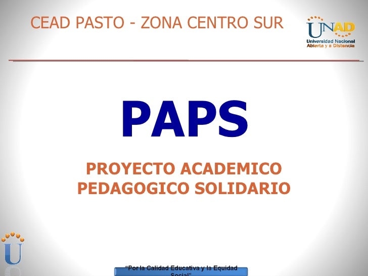 PAPS PROYECTO ACADEMICO PEDAGOGICO SOLIDARIO CEAD PASTO - ZONA CENTRO SUR