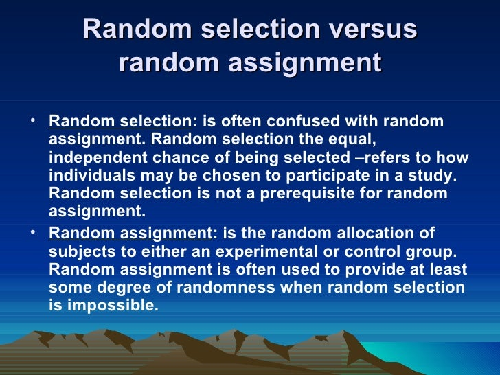 Random sampling random assignment