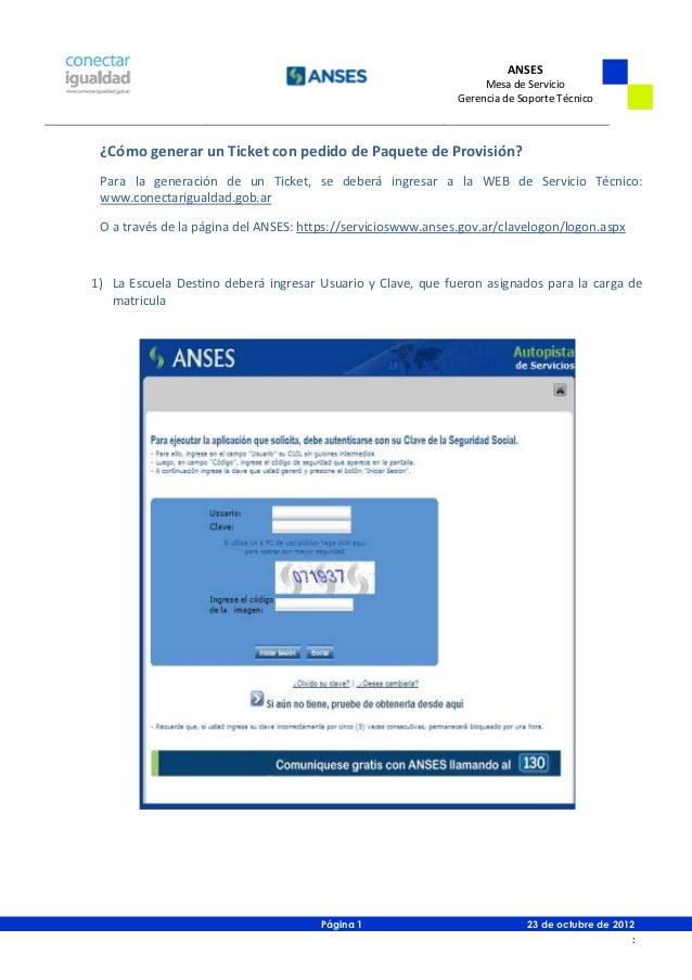 Paquete de provisión- ANSES