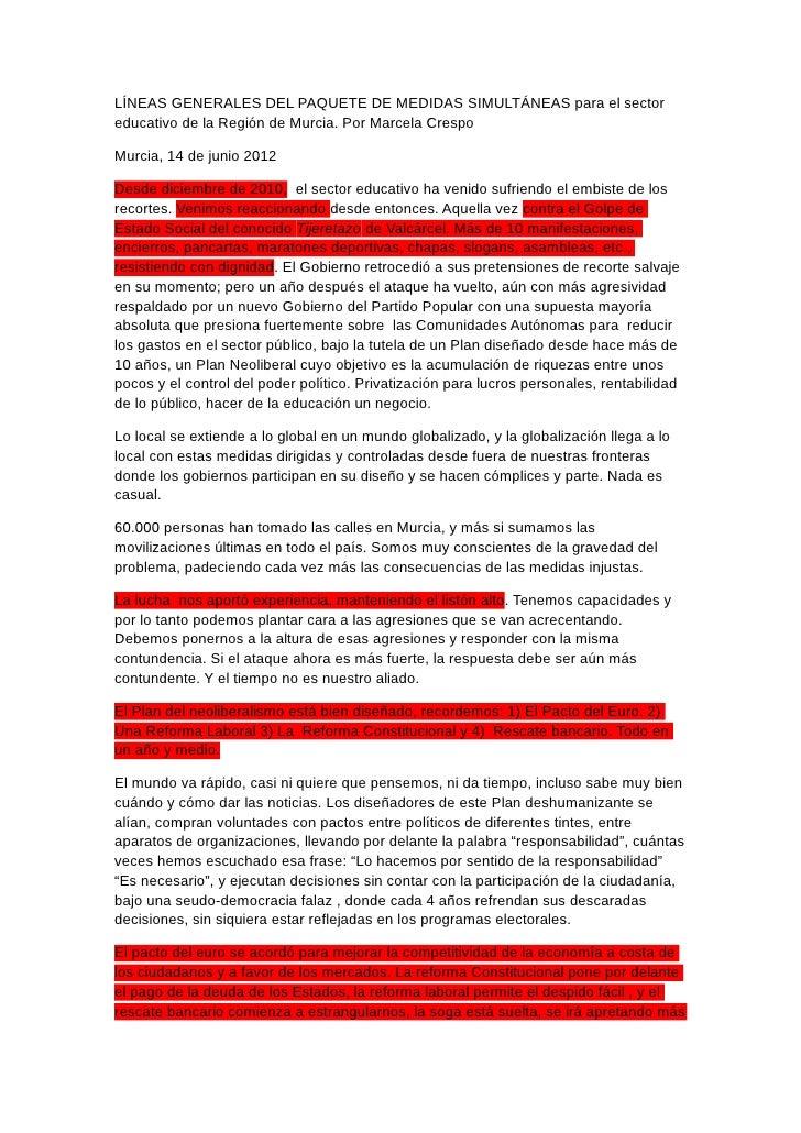 LÍNEAS GENERALES DEL PAQUETE DE MEDIDAS SIMULTÁNEAS para el sectoreducativo de la Región de Murcia. Por Marcela CrespoMurc...