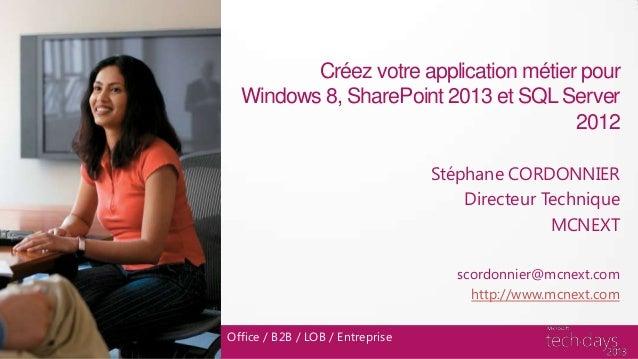 Créez votre application métier pourWindows 8, SharePoint 2013 et SQL Server2012Stéphane CORDONNIERDirecteur TechniqueMCNEX...