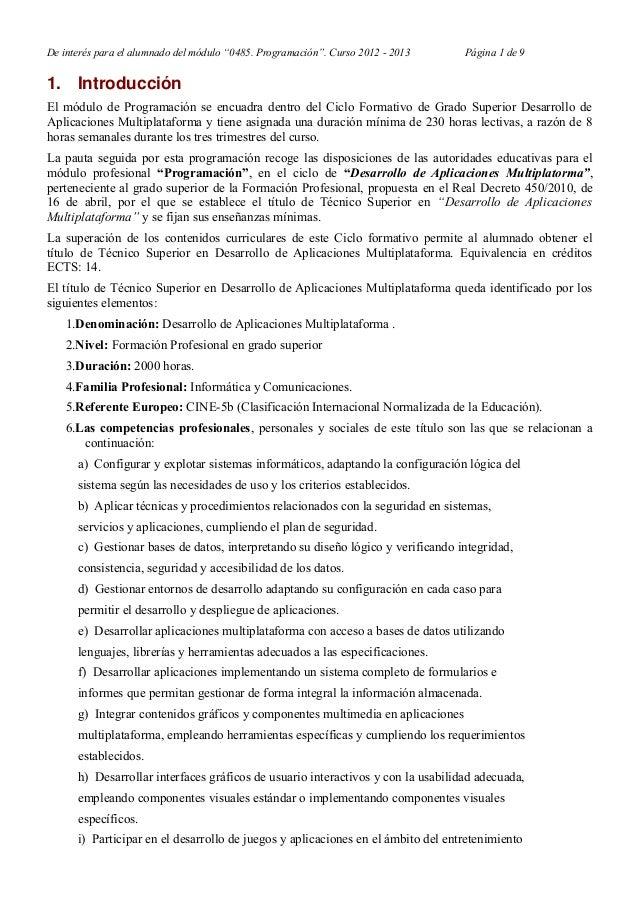 """De interés para el alumnado del módulo """"0485. Programación"""". Curso 2012 - 2013 Página 1 de 9 1. Introducción El módulo de ..."""