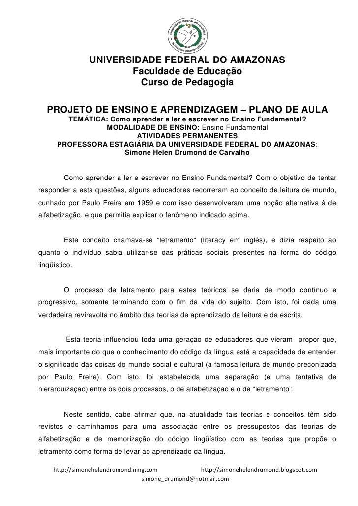 UNIVERSIDADE FEDERAL DO AMAZONAS                        Faculdade de Educação                          Curso de Pedagogia ...