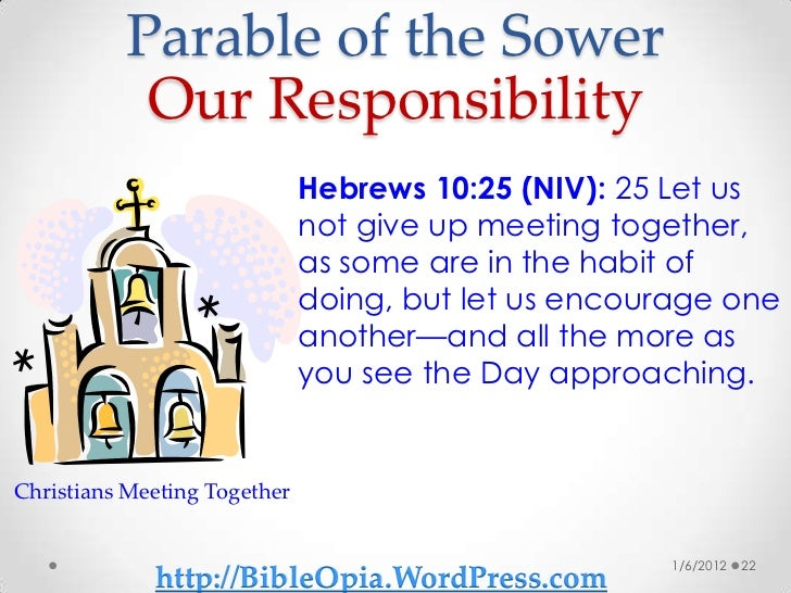 parable of the sower research paper So you shared the gospel and the person didn't listen jesus gave us a story to help with this feeling in the parable of the sower, and the kids and i talked it over the other day for what it means for us.