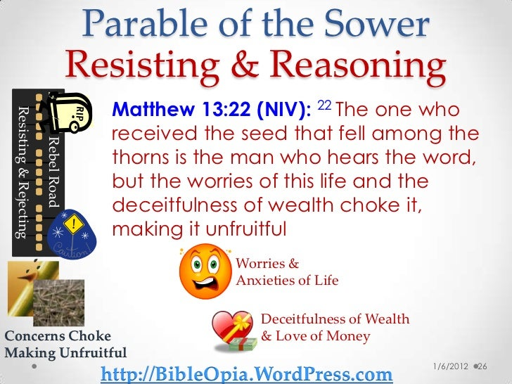parable of the sower The parable of the sower (sometimes called the parable of the soils) is a parable of jesus found in the three synoptic gospels in matthew 13:1.