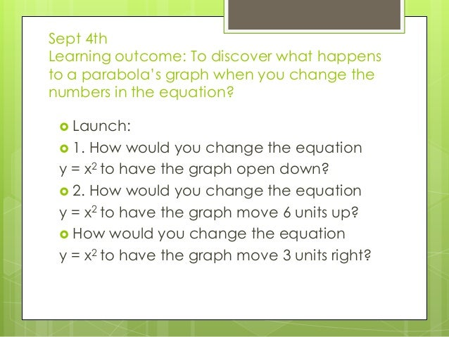 Sept 4th Learning outcome: To discover what happens to a parabola's graph when you change the numbers in the equation?  L...