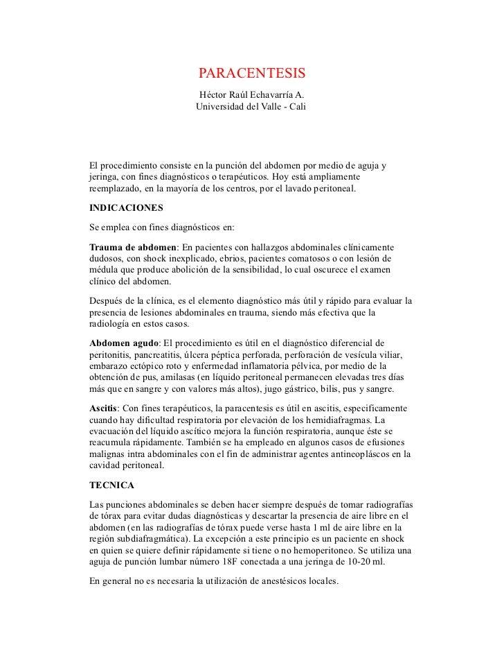 PARACENTESIS                             Héctor Raúl Echavarría A.                            Universidad del Valle - Cali...