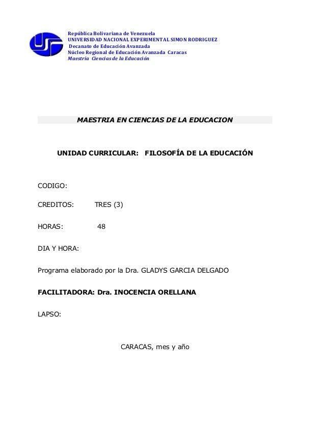 República Bolivariana de VenezuelaUNIVERSIDAD NACIONAL EXPERIMENTAL SIMON RODRIGUEZDecanato de Educación AvanzadaNúcleo Re...