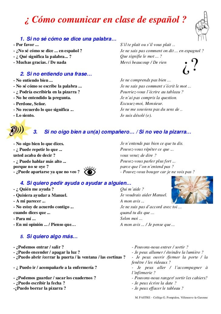¿ Cómo comunicar en clase de español ?   1. Si no sé cómo se dice una palabra…- Por favor ...                             ...
