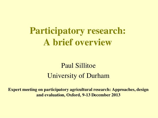 Participatory research: A brief overview
