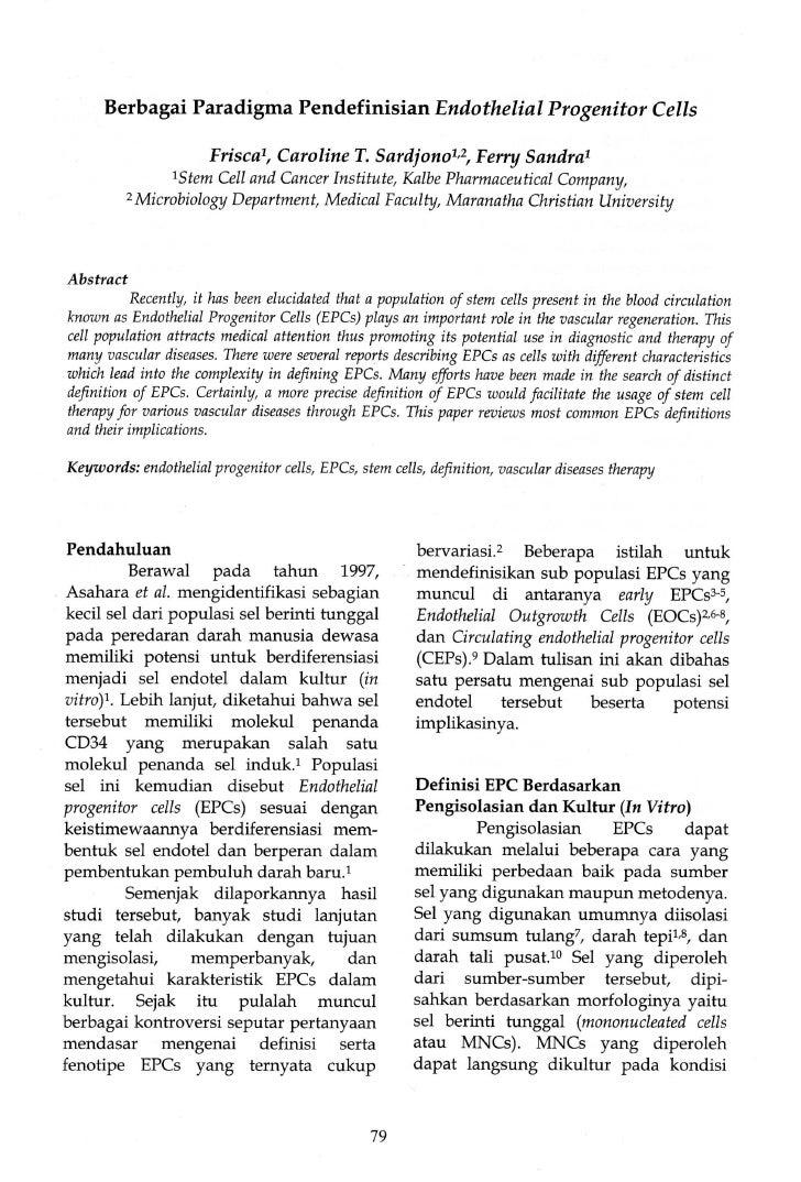 Berbagai Paradigma Pendefinisian Endothelial Progenitor Cells