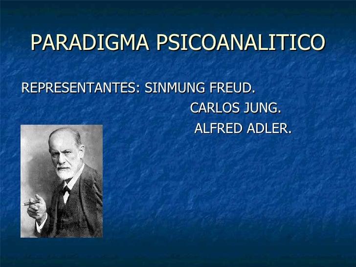 PARADIGMA PSICOANALITICO <ul><li>REPRESENTANTES: SINMUNG FREUD. </li></ul><ul><li>CARLOS JUNG. </li></ul><ul><li>ALFRED AD...