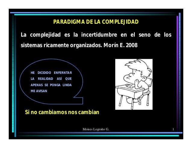 Moises Logroño G. 1 PARADIGMA DE LA COMPLEJIDAD La complejidad es la incertidumbre en el seno de los sistemas ricamente or...