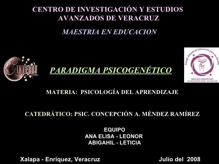 CENTRO DE INVESTIGACIÓN Y ESTUDIOS  AVANZADOS DE VERACRUZ MAESTRIA EN EDUCACION MATERIA:   PSICOLOGÍA DEL APRENDIZAJE CATE...