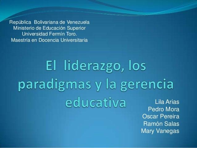 República Bolivariana de Venezuela Ministerio de Educación Superior     Universidad Fermín Toro.Maestría en Docencia Unive...