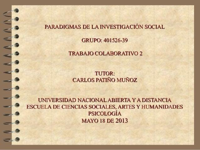 PARADIGMAS DE LA INVESTIGACIÓN SOCIALPARADIGMAS DE LA INVESTIGACIÓN SOCIALGRUPO: 401526-39GRUPO: 401526-39TRABAJO COLABORA...