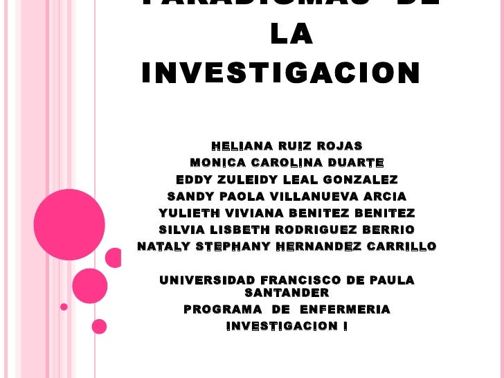 PARADIGMAS  DE LA INVESTIGACION HELIANA RUIZ ROJAS MONICA CAROLINA DUARTE EDDY ZULEIDY LEAL GONZALEZ SANDY PAOLA VILLANUEV...