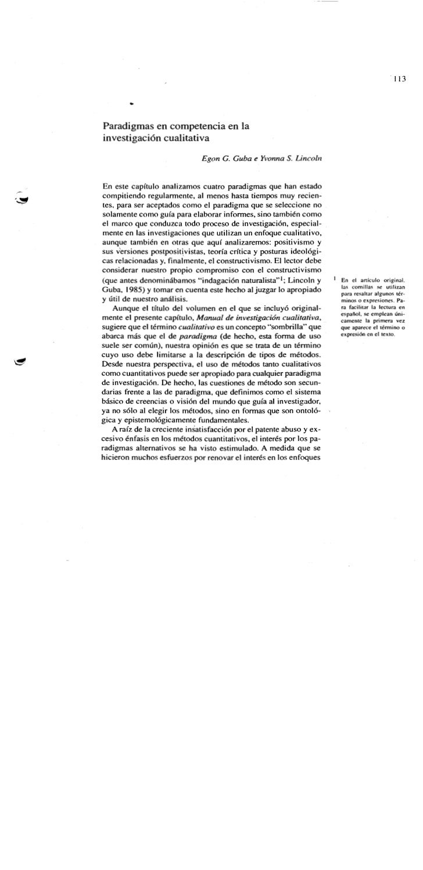 Paradigmas en inve.cualitativa guban y lincoln