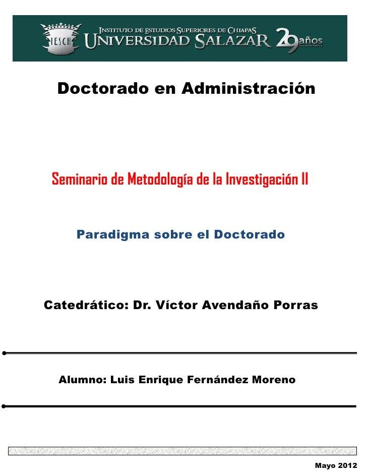 Paradigma sobre el doctorado