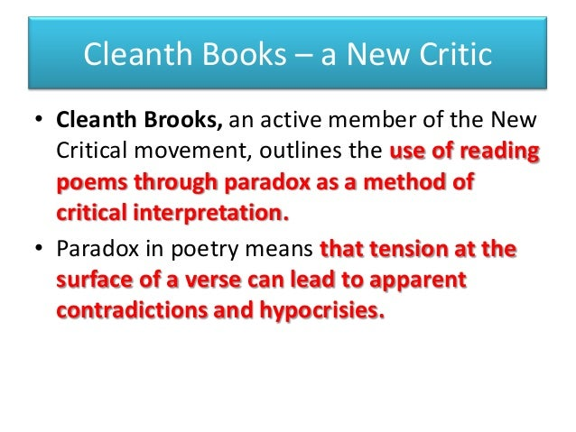 the formalist critics by cleanth brooks essay