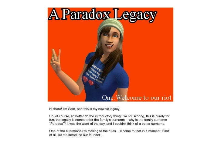 A Paradox Legacy - Chapter One