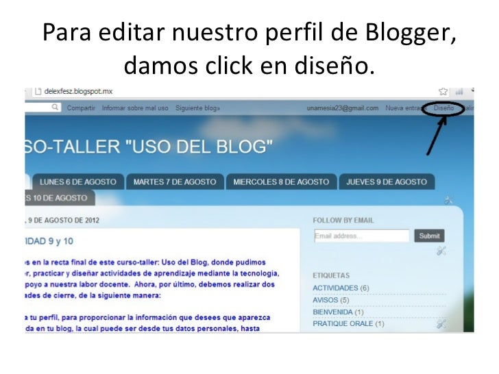 Para editar nuestro perfil de blogger