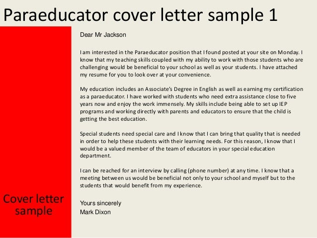 Paraeducator cover letter for Sample resume for paraprofessional position