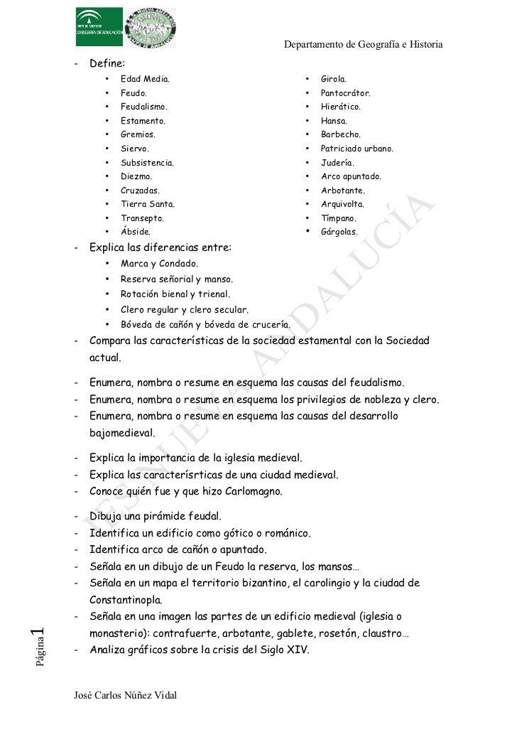 Departamento de Geografía e Historia          -   Define:                 •   Edad Media.                               • ...