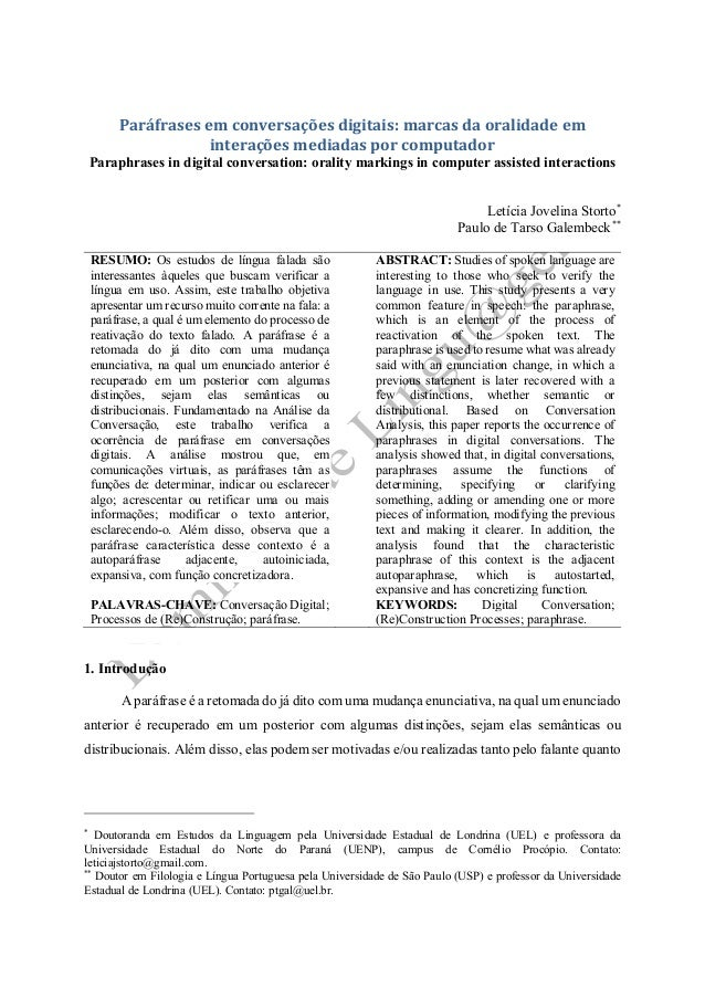 Paráfrases em conversações digitais: marcas da oralidade em interações mediadas por computador  Paraphrases in digital con...