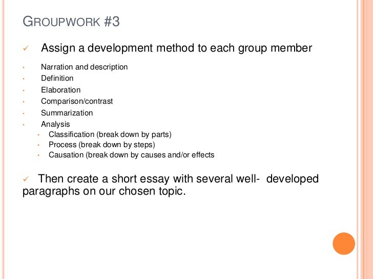 types of paragraph development in an essay Types of papers: narrative/descriptive to write a narrative essay, you'll need to tell a story (usually about something that happened to you) in such a way that he audience learns a lesson or gains insight to write a descriptive essay, you'll need to describe a person, object, or event so vividly that the reader feels like he/ she.