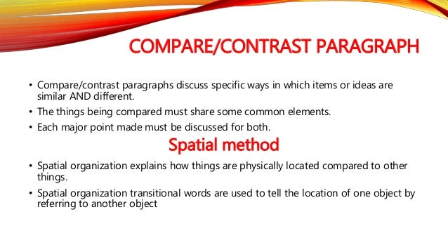 Parallel points of comparison or contrast?