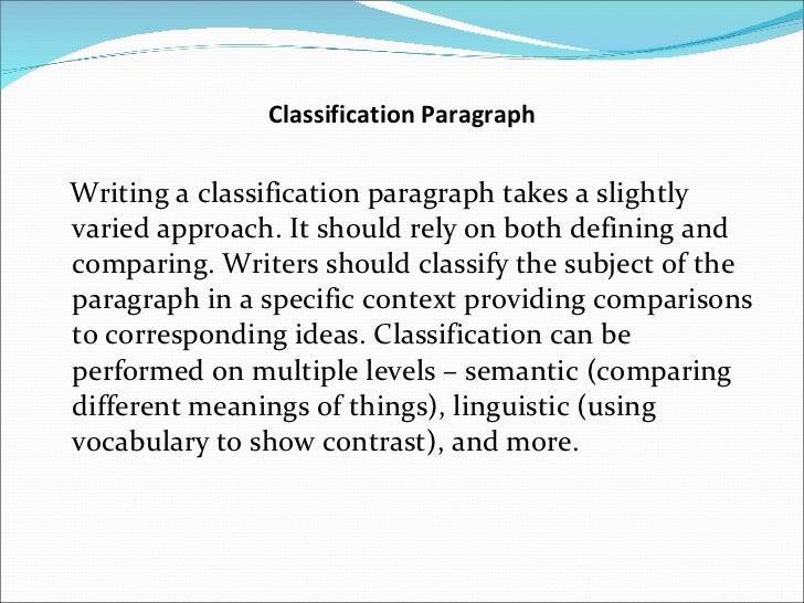 paragraph classification essay