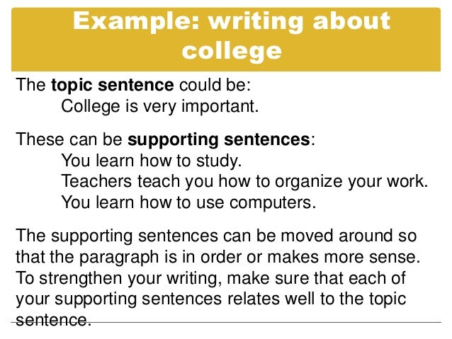 topic sentence example essay Making your skills perfect for writing topic sentences is extremely necessary in order to make your essay writing successful devote your attention in making the.