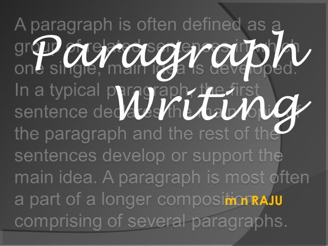 m n RAJU Paragraph Writing