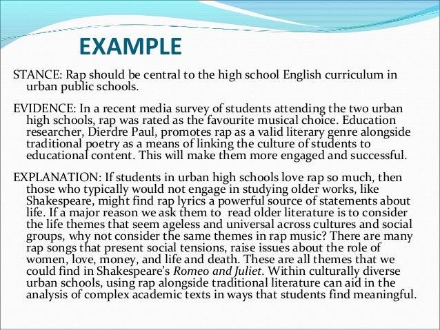 Persuasive essay rap music