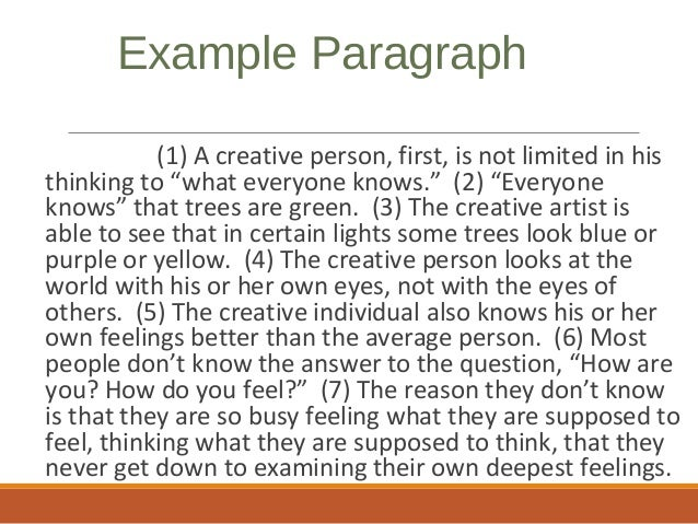 Creative writing paragraph