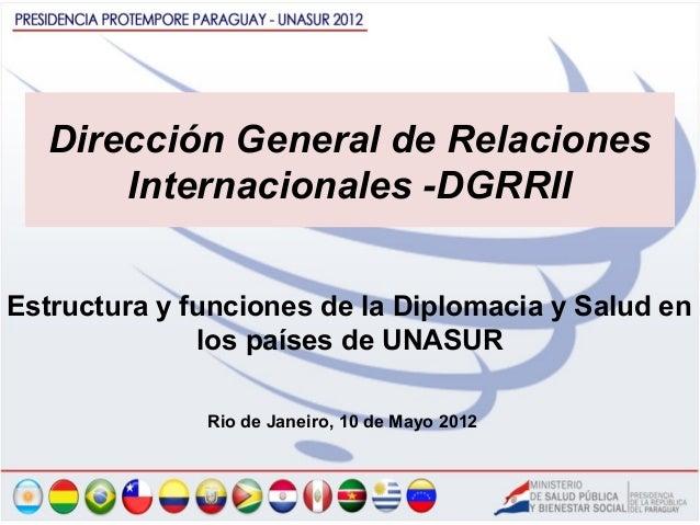 Dirección General de Relaciones      Internacionales -DGRRIIEstructura y funciones de la Diplomacia y Salud en            ...