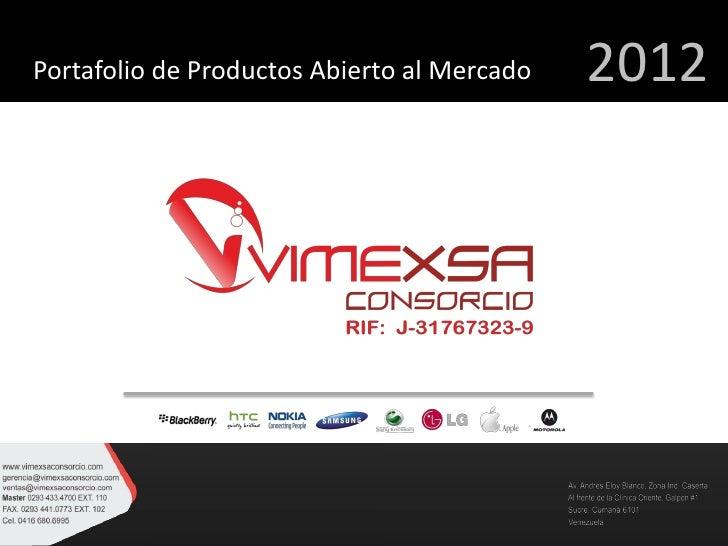Portafolio de Productos Abierto al Mercado   2012
